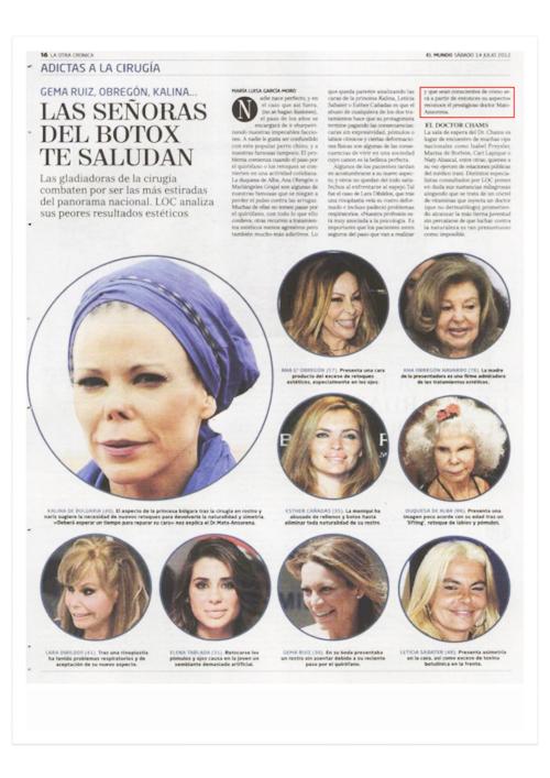 Famosas Adictas al Botox (antes y después) - El Mundo -Cirugía Plástica y Medicina Estética