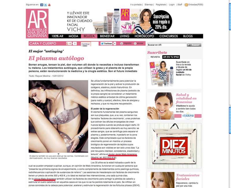 revista-ana-rosa-plasma-autologo-antiaging-clinicas-mato-ansorena