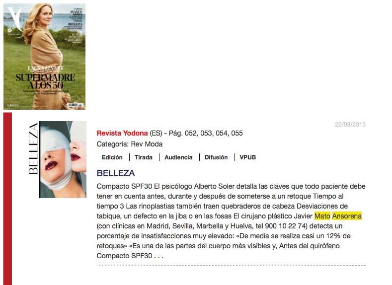 Cirugia Estetica Secundaria - Clinicas Mato Ansorena